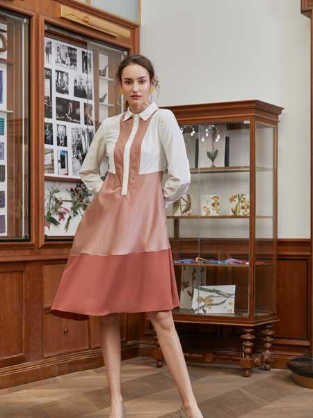 八月盛典女装品牌2019春夏新款长袖衬衫裙拼接连衣裙修身显瘦