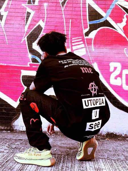 GARBASTES LIBETEGE男装品牌2019春夏新款时尚满背印花街头宽松嘻哈短袖多色圆领T恤