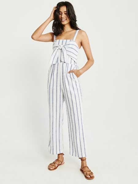 A&F - Abercrombie&Fitch休闲品牌2019春夏新款前身打结式阔腿连体裤连身裤