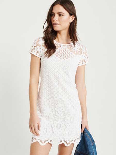 A&F - Abercrombie&Fitch休闲品牌2019春夏新款蕾丝碎花小透洋装连衣裙