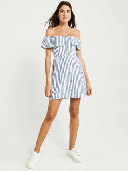 A&F - Abercrombie&Fitch休闲品牌2019春夏新款荷叶领露肩纽扣式连衣裙