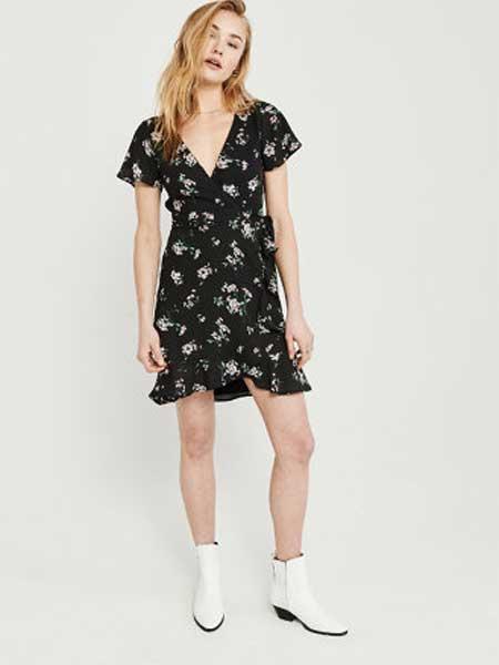 A&F - Abercrombie&Fitch休闲品牌2019春夏新款 交叉裹身显瘦荷叶边连衣裙
