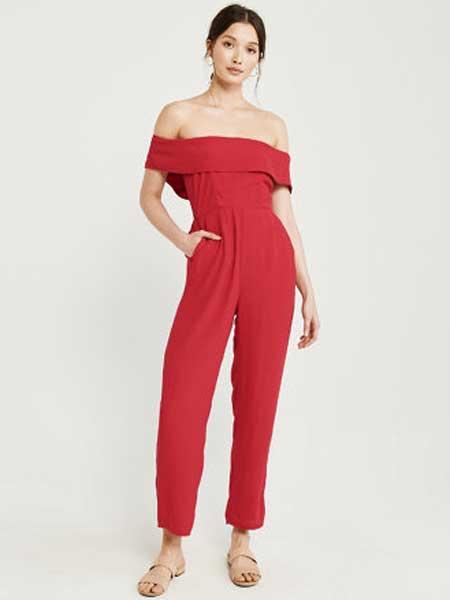 A&F - Abercrombie&Fitch休闲品牌2019春夏新款时尚荷叶边露肩连衣裤