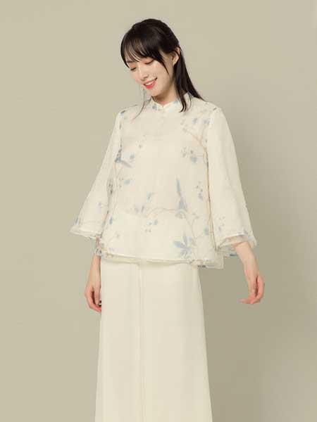 東景記女装品牌2019春夏新款中式改良款现代衬衣民国风复古七分袖上衣