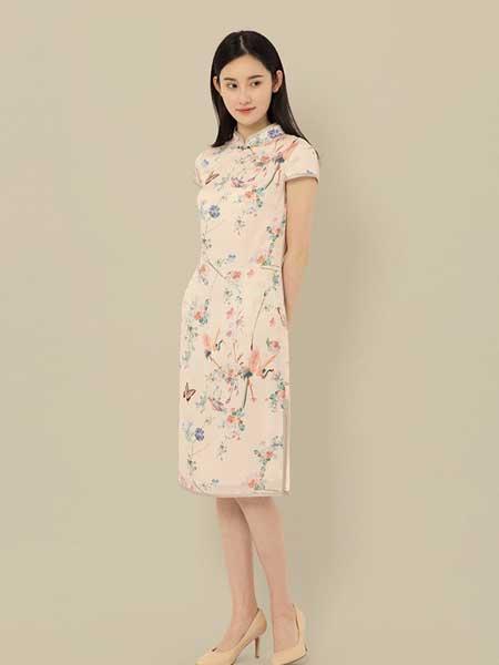東景記女装品牌2019春夏新款短袖现代改良款修身旗袍花色斜襟立领连衣裙