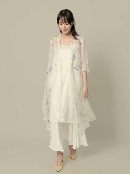 東景記女装品牌2019春夏新款复古中式民国风七分袖双层开衫七分袖防晒衫长款真丝衫