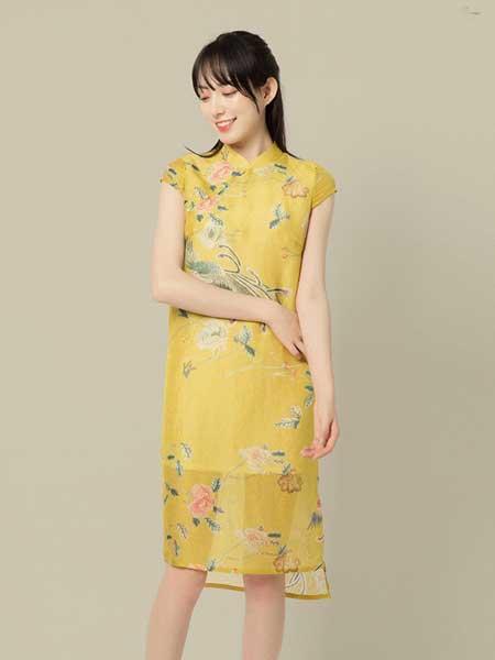 東景記女装品牌2019春夏新款中长款连衣裙高端时尚真丝旗袍
