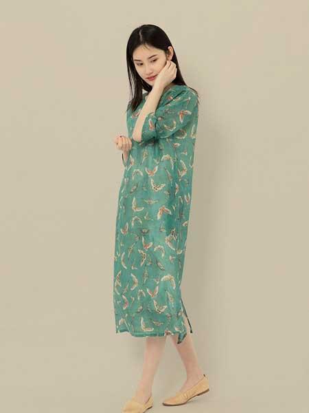 東景記女装品牌2019春夏新款中国风印花连衣裙宽松长裙圆领中袖茶服