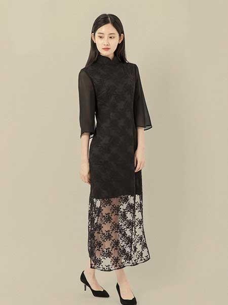 東景記女装品牌2019春夏新款立领七分袖蕾丝中式复古改良日常中长款旗袍连衣裙