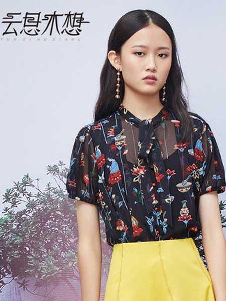 云思木想女装品牌2019春夏新款绑带宽松短袖微透雪纺衫