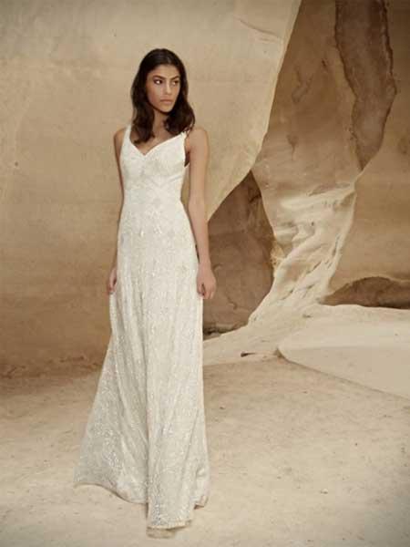 Limor Rosen女装品牌2019春夏新款复古蕾丝V领修身显瘦新娘结婚婚纱