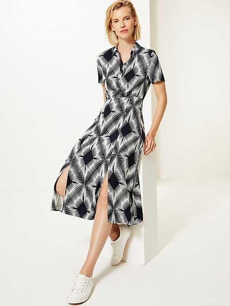 Marks&Spencer女装品牌2019春夏新款菱形纹短袖纽扣连衣裙