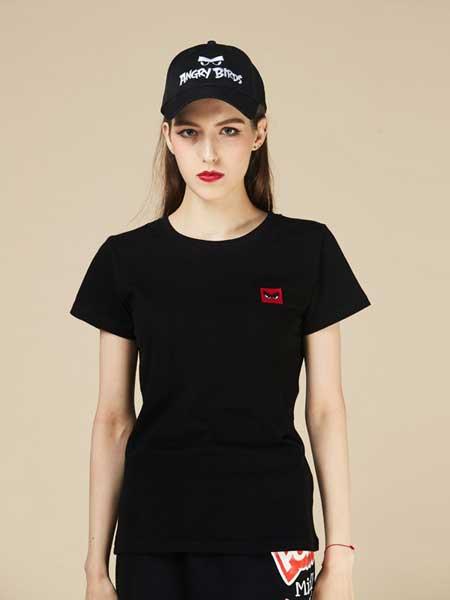 愤怒的小鸟休闲品牌2019春夏新款潮牌时尚舒适背面印花街头风女T恤