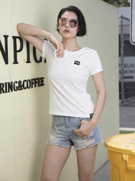 愤怒的小鸟休闲品牌2019春夏新款修身圆领简约短袖T恤衫纯棉多色时尚上衣