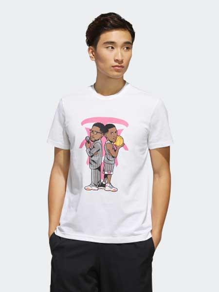 阿迪达斯运动装品牌2019春夏新款个性印花篮球休闲运动短袖T恤
