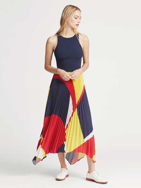 Lauren Ralph Lauren女装品牌2019春夏新款时尚百褶拼色A字连衣裙