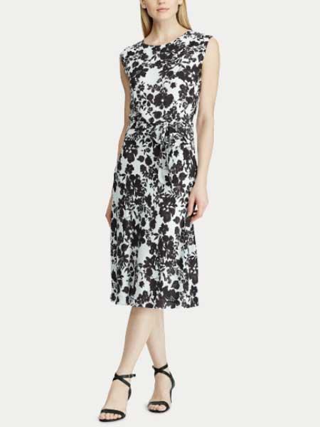 Lauren Ralph Lauren女装品牌2019春夏新款修身版圆领休闲连衣裙