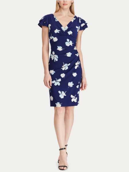 Lauren Ralph Lauren女装品牌2019春夏新款v领优雅气质印花修身显瘦连衣裙