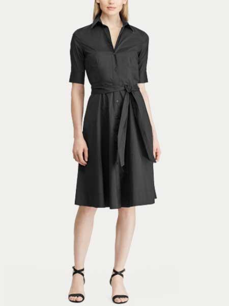 Lauren Ralph Lauren女装品牌2019春夏新款黑色翻领系带短袖衬衫连衣裙