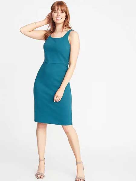 老海军女装品牌2019春夏收腰显瘦绑带连衣裙时尚气质无袖紧身连衣裙