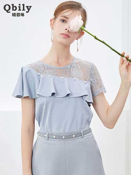 晴碧琳女装品牌2019春夏新款气质蕾丝拼接短袖T恤宽松洋气舒适上衣