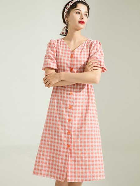 白鹿语女装品牌2019春夏新款甜美风茶歇裙V领泡泡袖细方格连衣裙