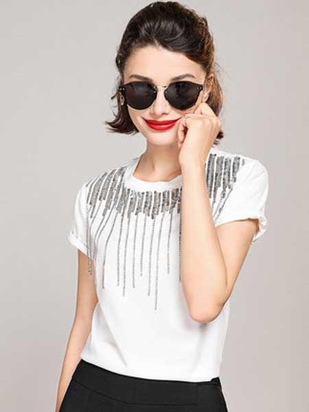 白鹿语女装品牌2019春夏新款亮片流苏装饰纯色时尚精致圆领短袖T恤