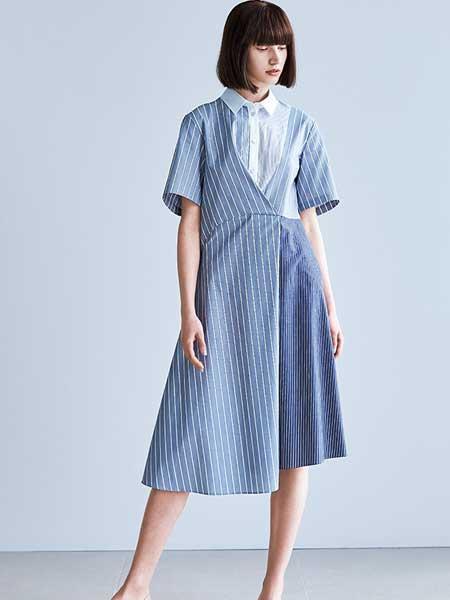 Hanae Mori森英惠女装品牌2019春夏新款优雅蓝色条纹复古过膝衬衫连衣裙
