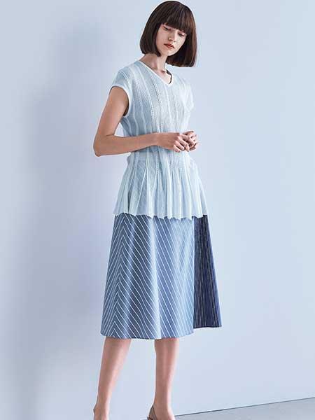 Hanae Mori森英惠女装品牌2019春夏新款针织衫短款宽松纯色圆领不对称短袖上衣