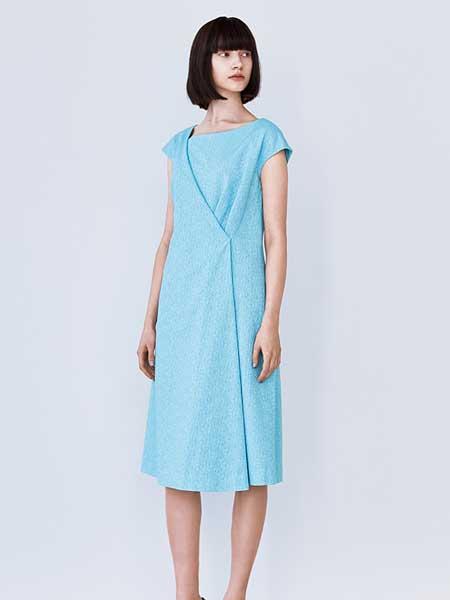 Hanae Mori森英惠女装品牌2019春夏新款时尚纯色圆领无袖褶皱收腰显瘦短款连衣裙