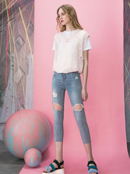 MOOSY女装品牌2019春夏弹力提臀小脚牛仔裤九分薄