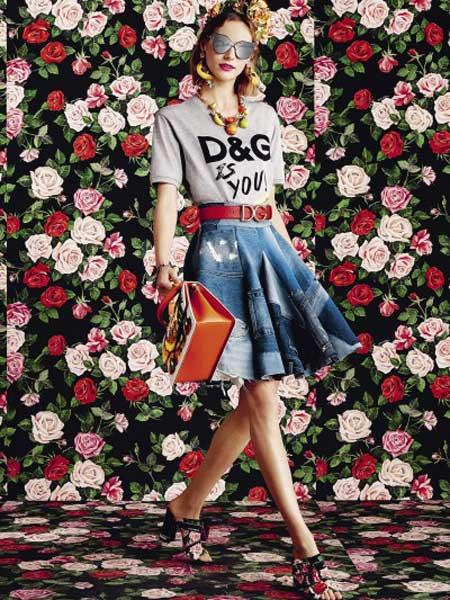 Dolce&Gabbana杜嘉班纳女装品牌2019春夏新款时尚显瘦中长款牛仔半身裙