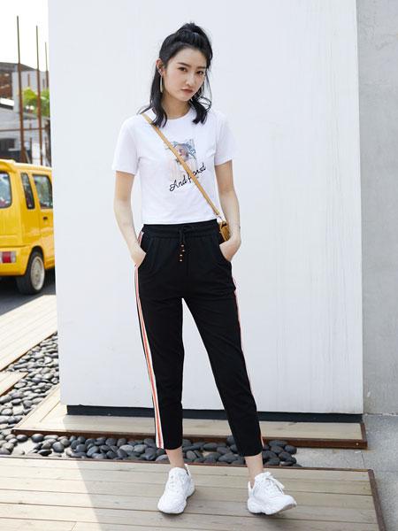 果一果女孩女装品牌2019春夏韩版休闲修身宽松高腰九分裤