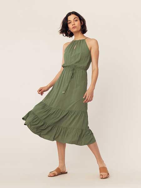 绿洲女装品牌2019春夏新款 洋气时尚气质无袖超长连衣裙