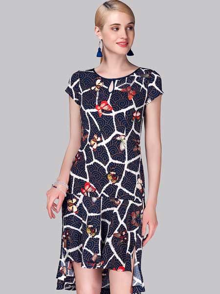 素罗依女装品牌2019春夏新款修身连衣裙中年妈妈装大码冰丝碎花中长款裙子
