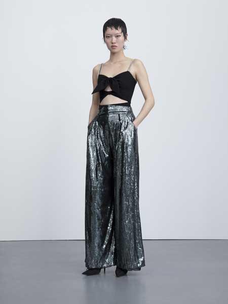 I LOVE PRETTY女装品牌2019春夏新款银灰色亮片绢网高腰阔腿裤