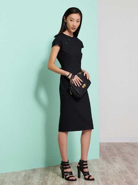 上海滩女装品牌新款气质通勤连衣裙修身收腰简约裙子