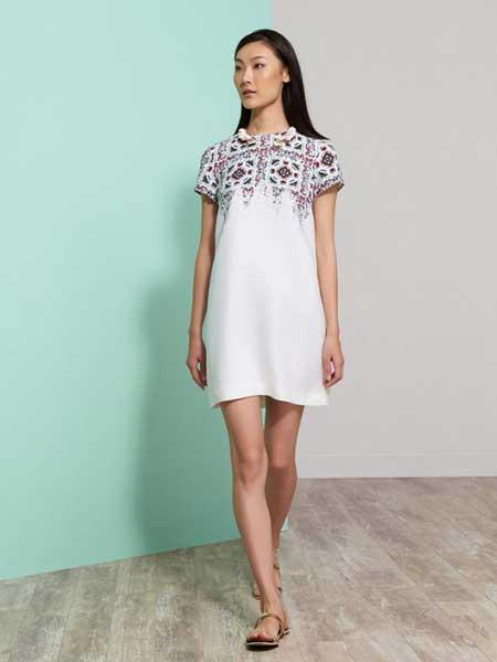 上海滩女装品牌新款纯色修身气质圆领短袖连衣裙