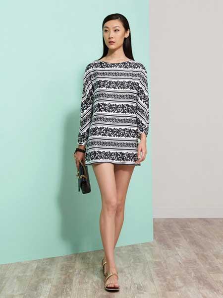 上海滩女装品牌新款时尚复古印花修身显瘦连衣裙