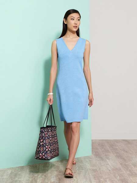 上海滩女装品牌新款冰丝背心裙V领百搭纯色气质打底长裙薄