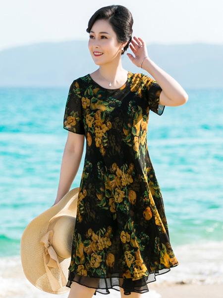 醉影女装品牌2019春夏新款中年妈妈大码圆领短袖修身显瘦印花连衣裙