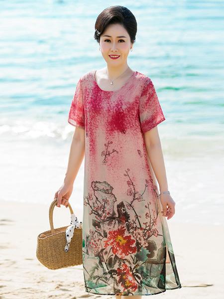 醉影女装品牌2019春夏新款时尚复古中长款印花连衣裙