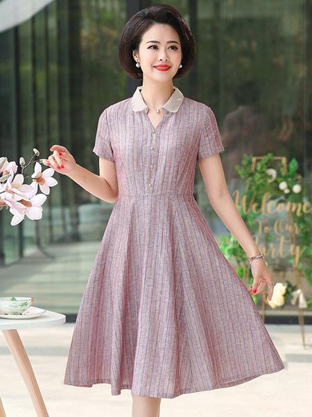 佩文妮女装品牌2019春夏新款阔太太高贵洋气质翻领亚麻裙子连衣裙