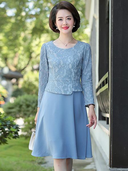 佩文妮女装品牌2019春夏新款圆领假两件拼接时尚裙子雪纺蕾丝连衣裙
