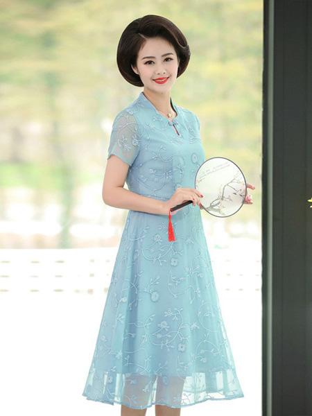 佩文妮女装品牌2019春夏新款气质时尚蕾丝刺绣中老年大码中长款雪纺裙连衣裙