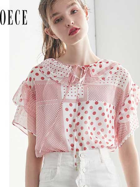 欧艺女装品牌2019春夏新款个性拼接花边圆领系带喇叭袖雪纺衫上衣