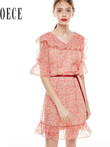 欧艺女装品牌2019春夏新款甜蜜感荷叶边喇叭袖复古小波点雪纺连衣裙