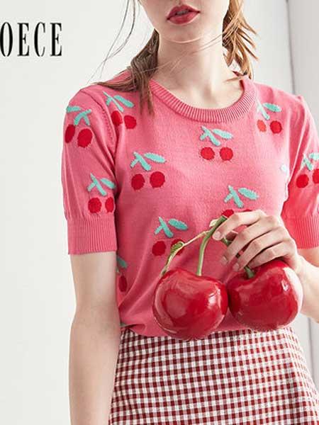 欧艺女装品牌2019春夏新款复古甜美圆领短袖针织上衣
