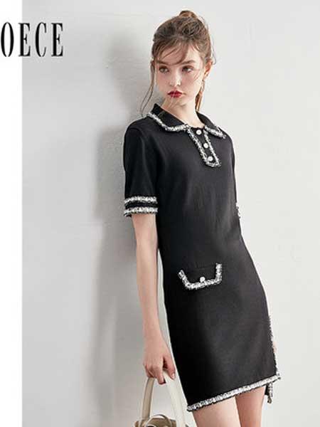 欧艺女装品牌2019春夏新款甜甜复古香风撞色流苏甜美修身短袖连衣裙