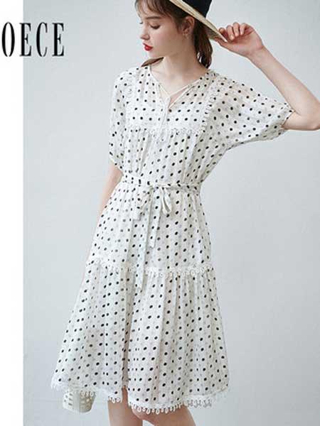 欧艺女装品牌2019春夏新款温柔复古甜蜜V领系带收腰波点雪纺连衣裙